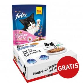 Felix Crunchy & Soft Junior mit Huhn und Gemüsenote 4x950g plus FunSauces Mischpaket gratis