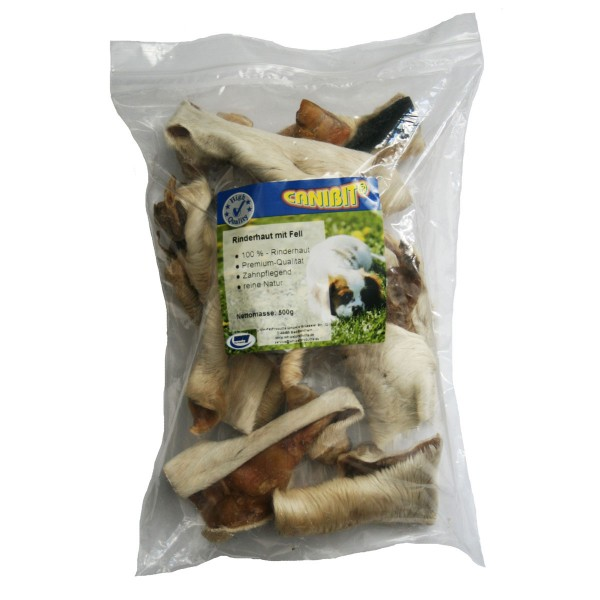 Canibit Hundesnack Rinderhaut mit Fell 500g