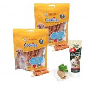 Hansepet Cookies Hähnchenfilet auf Kaurolle 2x200g + Tubidog Leberwurst gratis