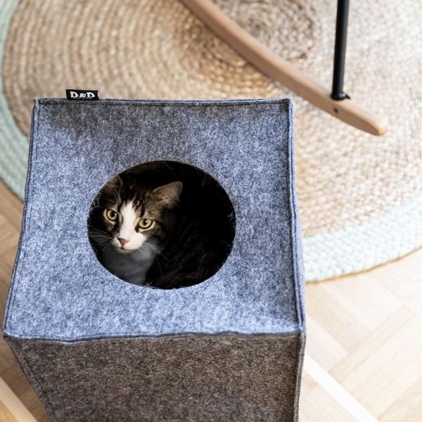 D&D Katzenhöhle aus Filz + Stefanplast Doppelnapf Break 2 x 0,2l