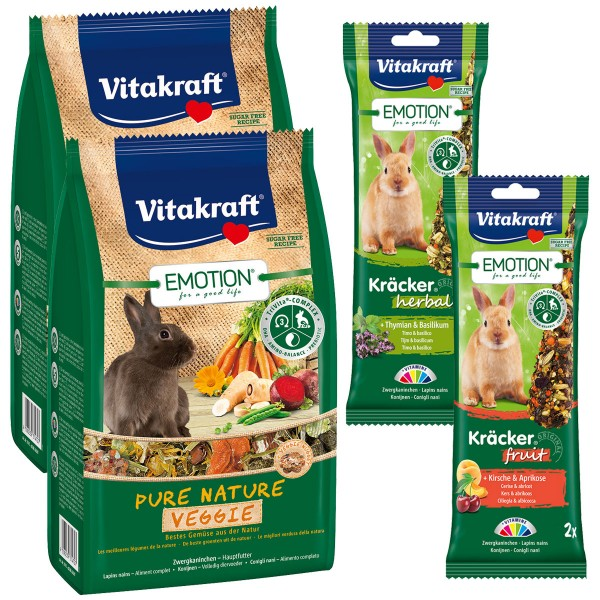 Vitakraft Emotion Pure Nature Veggie Zwergkaninchen 2x600g + 4 Kräcker Herbal & Fruit