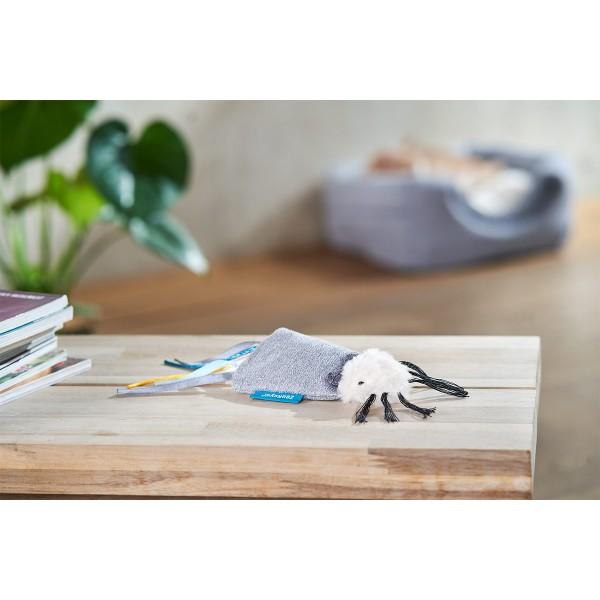 ZooRoyal Katzenspielzeug Maus mit Bändern & Katzenminze grau