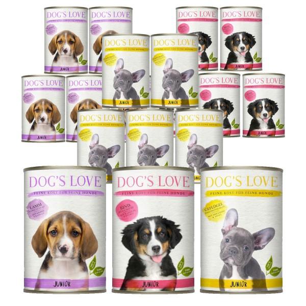 Dog's Love Hunde-Nassfutter Junior Mixpaket 18x400g
