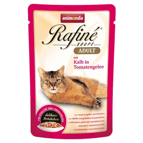 Animonda Katzenfutter Rafiné Soupé Adult mit Kalb in Tomatengelee