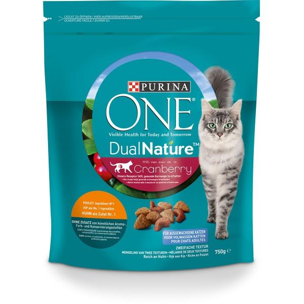 PURINA ONE Dual Nature Katzenfutter trocken Huhn mit Cranberry 750g