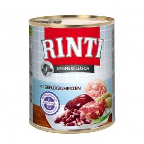 Rinti Nassfutter Kennerfleisch mit Geflügelherzen 800g