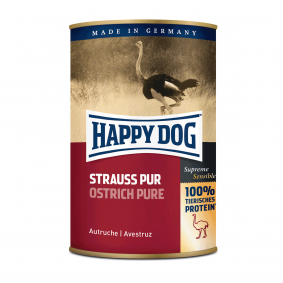 Happy Dog Hundefutter Strauß Pur 24x400g