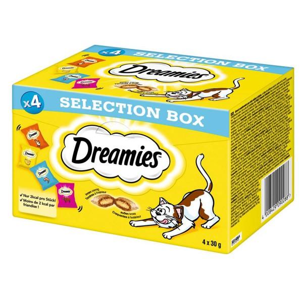 Dreamies Katzensnack Selection Box Huhn, Käse, Lachs und Rind