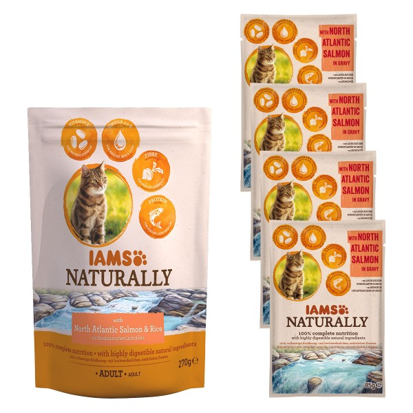 IAMS Naturally Probierpaket Lachs & Reis 700g + 4x85g Lachs in Sauce