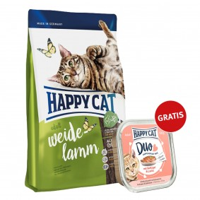 Happy Cat Supreme Adult Weide-Lamm 300g plus Paté Geflügel & Lachs 100g