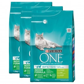 Purina One Bifensis Indoor Formula krůtí, 3 x 1,5 kg