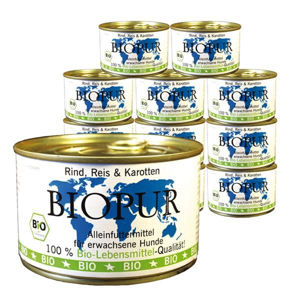 BIOPUR Hundefutter Bio Rind, Reis, Karotten 12x400g
