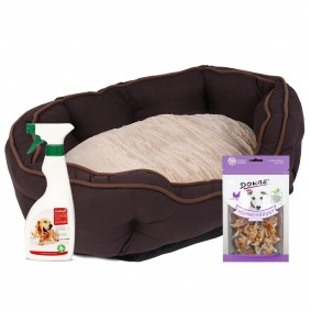ZooRoyal Premium Hundebett Wido braun/beige 120x80x20cm + gratis Dokas Snack Hühnerbrust mit Fisch 7