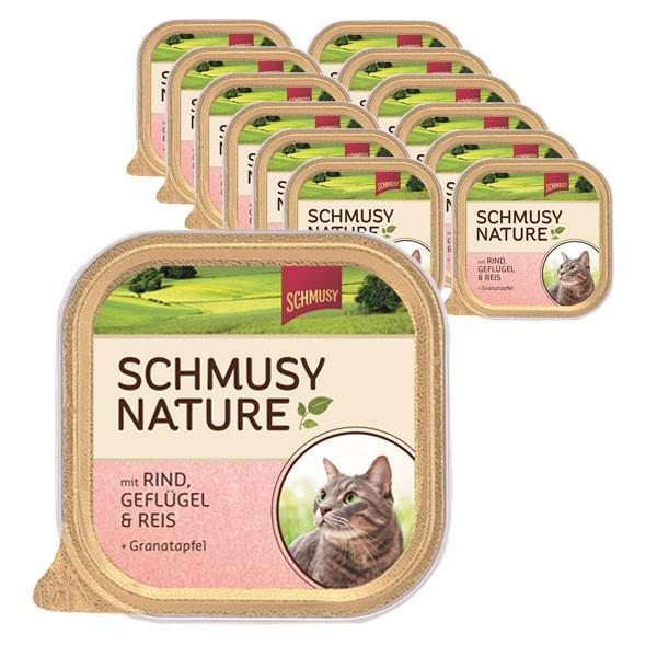 Schmusy Nature Rind, Geflügel, Reis & Granatapfel 16x100g