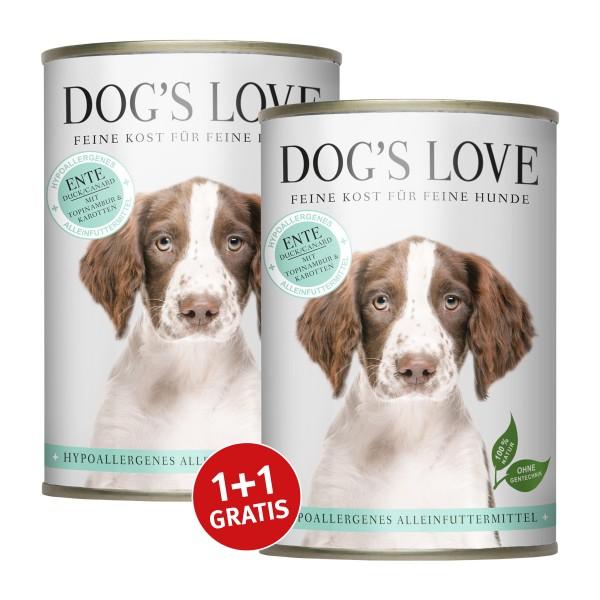 Dog's Love Hypoallergen Ente mit Topinambur und Karotten 400g 1+1