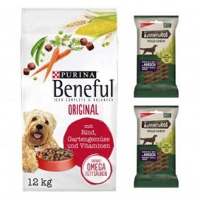 Beneful Original 12kg + 2 x Wild Chew für kleine Hunde gratis