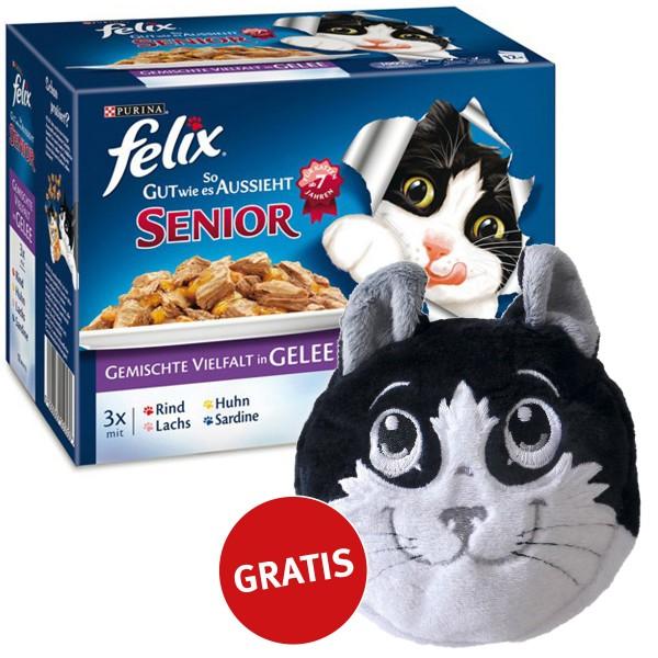 Felix Multipack -So gut wie es aussieht Senior Vielfalt in Gelee 48x100g plus gratis Katzenkissen