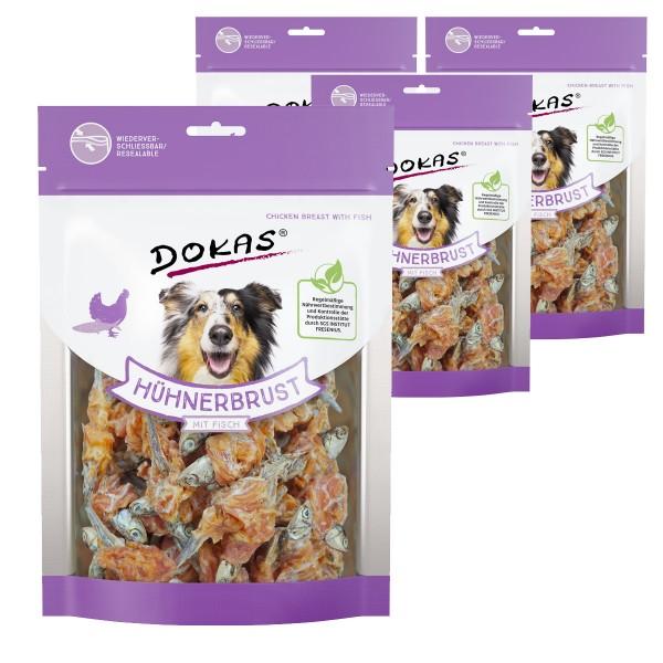 Dokas Hundesnack Hühnerbrust mit Fisch 4x220g