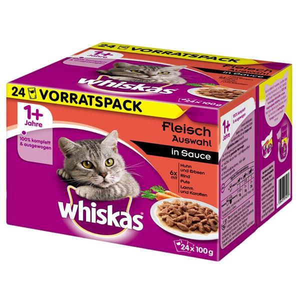 Whiskas Katzenfutter 1+ Fleischauswahl in Sauce 24x100g