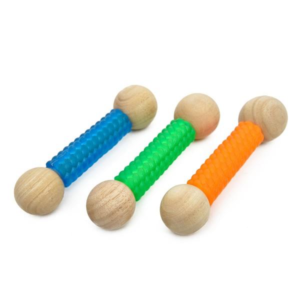 Earthy Pawz Holz Hundespielzeug knochenform mit Gummi