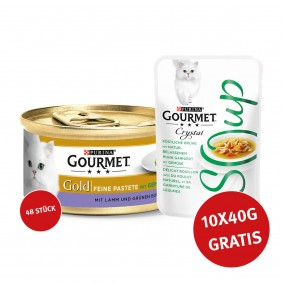 Gourmet Gold Feine Pastete Lamm & Grünen Bohnen 48x85g + Crystal Soup Huhn und Gemüse 10x40g GRATIS!
