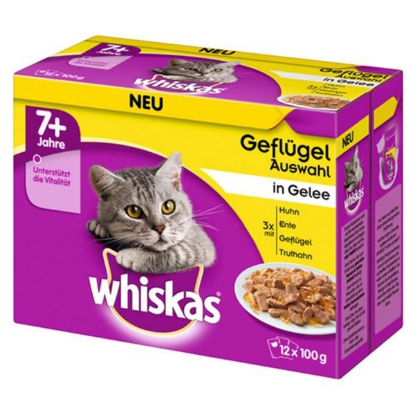 Whiskas 12er Multipack 7+ Geflügelauswahl in Gelee 12x100g
