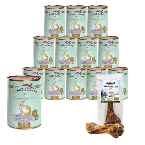 Terra Canis getreidefreies Hundefutter mit Kaninchen & Zucchini 12x400g + GRATIS Schinkenknochen