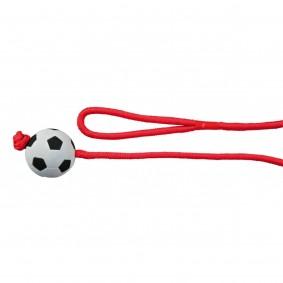 Balle en caoutchouc mousse au bout d'une corde 6 cm