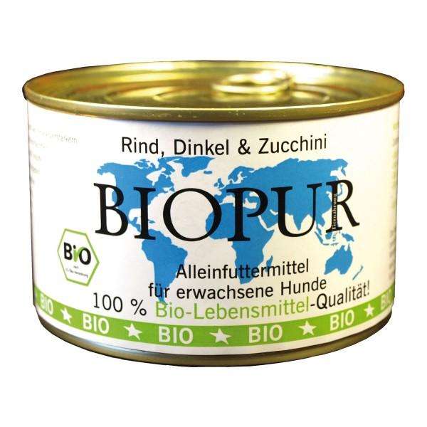BIOPUR Hundefutter Bio Rind, Dinkel und Zucchini 12x400g