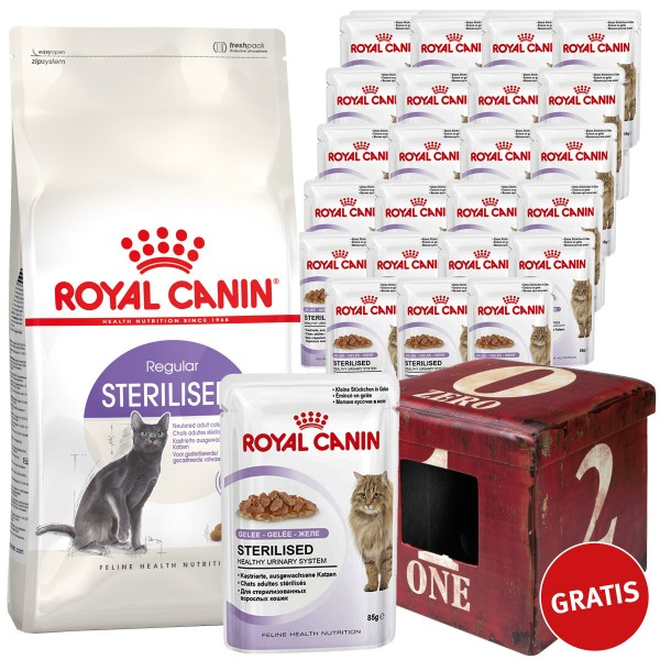 Royal Canin Sterilised in Gelee 24x85g und 10kg Sterilised 37 plus Ottomane gratis