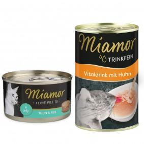 Miamor Katzenfutter Feine Filets in Jelly Thunfisch und Reis 24x100g PLUS Trinkfein 135ml GRATIS!