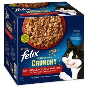 FELIX Sensations Crunchy in Gelee Geschmacksvielfalt vom Land 20x84g +2x40g Knusperstückchen