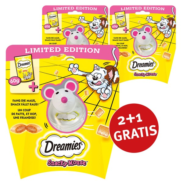 Dreamies Snacky Mouse 2+1 Gratis mit Käsesnacks 60g
