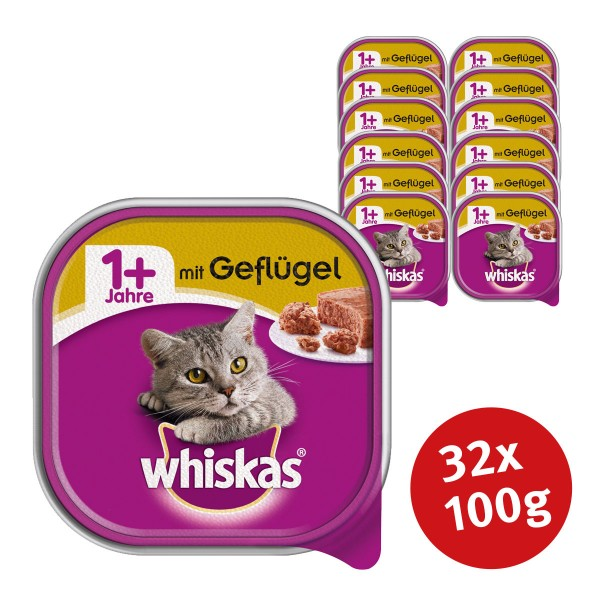 Whiskas Katzenfutter 1+ mit Geflügel 32 x 100g