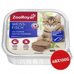 ZooRoyal Katzenfutter Weißfisch mit feinen Seefischsorten 48x100g