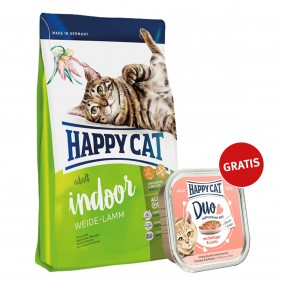 Happy Cat Supreme Adult Indoor Weide-Lamm 300g plus Paté Geflügel & Lachs 100g
