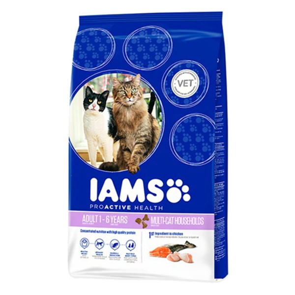 IAMS Katze Trockenfutter Adult Multicat Huhn & Lachs
